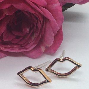 Gold Colored Lip Stud Stud Earrings
